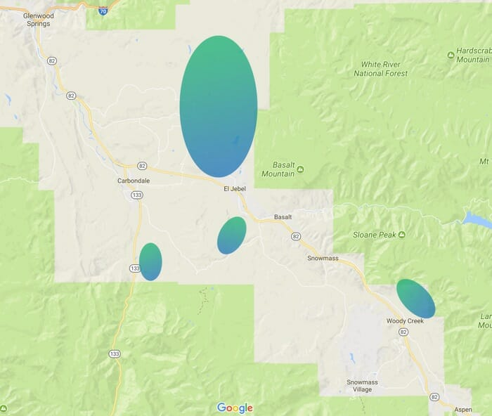 Map showing Pathfinder coverage in Roaring Fork Valley, Colorado